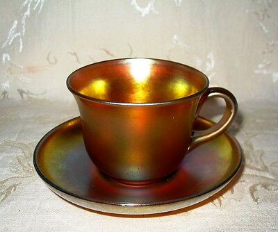 Antique Tiffany/Steuben?  Cup & Saucer in the Aurene Finish Circa 1910 Un-Signed