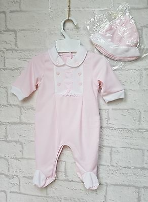 New Baby Girls Traditional Style Pink Embroidered Romper Outfit with Hat