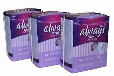 "3 x Always Maxi Binden ""Soft & Fresh"" long super 3x14 Stück Damenbinden"