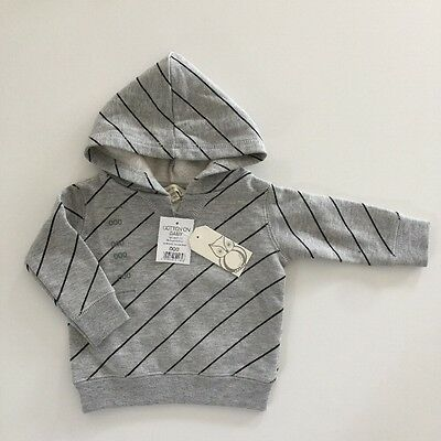 COTTON ON BABY Boys Size 000 Grey Stripe Hoodie Jumper Pull Over Brand New