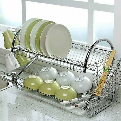 2 Tier Chrome Dish Plates Cup Cutlery Crockery Glass Drainer Rack Drip Tray Fast