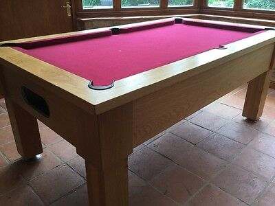 Marlon - Oak 6ft Pool Table slate bed with upgraded hainsworth maroon cloth