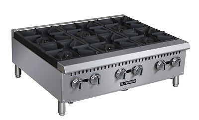 "Commercial Kitchen Countertop Gas Hot Plate 6 Burner 36"" 150,000 BTU"