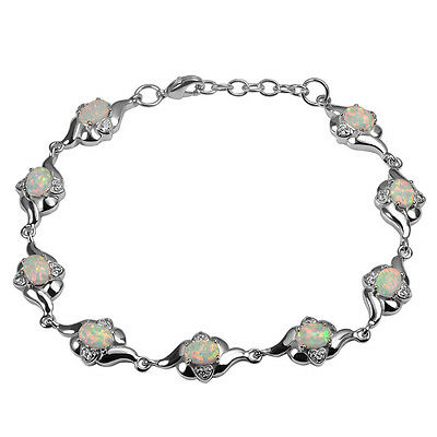 Sterling Silver Dipped 9 Stone Natural Opal Set Bracelet White Fire Oval