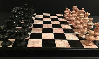"Vintage Marble & Stone Chess & Backgammon Board Game Complete 13"" By 13"""