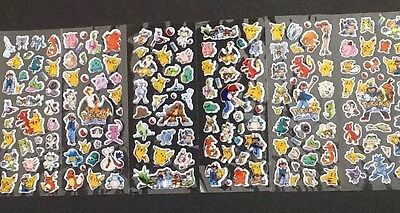 POKEMON Padded Stickers 12 Packs 6 Different 2 Of Each - PARTY BAG GIFT Cartoon