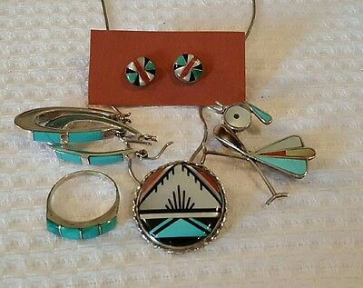 Sterling Silver Zuni Jewelry Lot Inlaid Turquois and Mother of Pearl