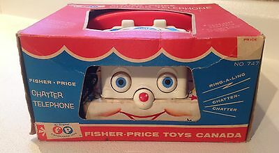 VTG 1964 Fisher Price Chatter Telephone in Box #747 WOOD WHEELS (rare) Canada