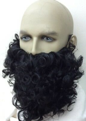 Black Curly Beard Fancy Dress . Wizard, Gnome, Dwarf, Uk Seller