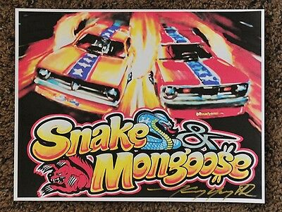 50Th Kenny Youngblood Signed The Mongoose Snake Funny Cars Hot Wheels Print