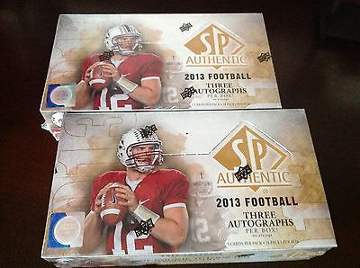 2013 Upper Deck SP Authentic Football - 2 Box Lot - Sealed Unopened SPA