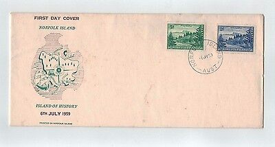 NORFOLK ISLAND FDC   6th JULY 1959 BALL BAY 2/ BLUE AND 3d GREEN LONG FORMAT