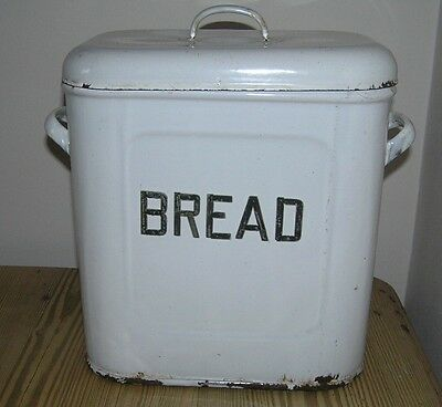 VINTAGE 1930s ENAMEL BREAD TIN with enamel lettering and ventilation