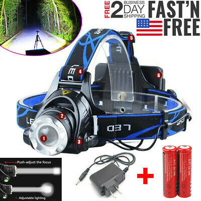 20000LM T6 Zoomable Led Rechargeable Headlamp Flashlight 18650 Battery Charger