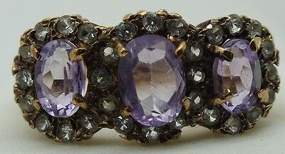 Vintage 9ct gold amethyst and diamond cluster trilogy ring. size N 1/2.