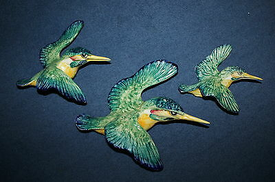 SUPERB BESWICK SET OF 3 KINGFISHER WALL PLAQUES, MODEL No 729