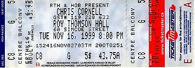 CHRIS CORNELL TICKET 1999-Sweet Euphoria Tour-1st ever Canadian Solo Show