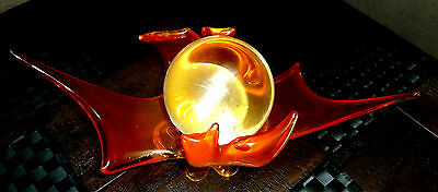 Authentic Vintage Dragon Fire Clear Quartz crystal Ball Murano Stand.