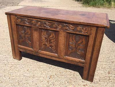 Lovely 18th Century Oak Coffer with Decorative Carved Front Panels & Candle Box