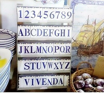 Portuguese Glazed Ceramic House NUMBERS and LETTERS Tile Handicraft Door Sign
