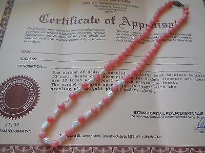 """Vintage Pink Coral 19"""" Necklace - Sterling - with 1988 Canadian Appraisal"""