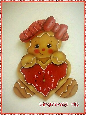 HP Wooden Gingerbread Large Wall Clock , Girl, Cookie, Kitchen Decor, Red.