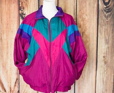 VTG Bocoo Windbreaker Women's Jacket 80's 90's Purple Green L-Bright color block