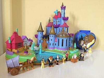 Disney Beauty & The Beast Castle & Compact Polly Pocket Bundle Complete