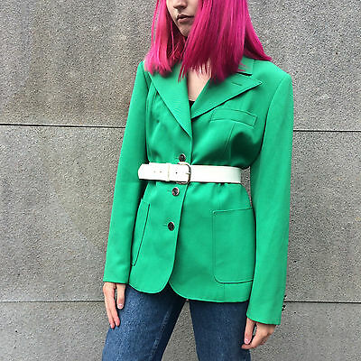 Vintage 1970s Bright Green Wool Wing Lapel Jacket Blazer 14