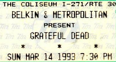GRATEFUL DEAD TICKET 1993 The Coliseum, Ohio  Full Unused Ticket