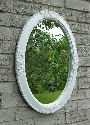 WHITE OVAL WALL MIRROR (vanity mirror, bathroom mirror,entry mirror.