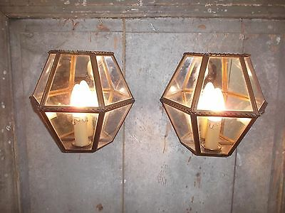 French a pair of patina brass glass wall light  classic vintage