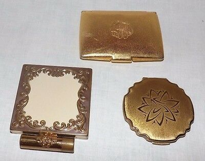 (Group of 3) Vintage Gold  Face Powder COMPACTS (Stratton, Helena Rubenstein)