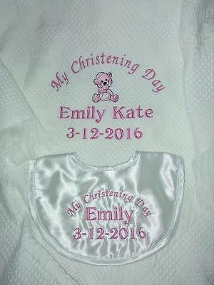 Personalised Christening Blanket and Personalised Bib | Christening Gift