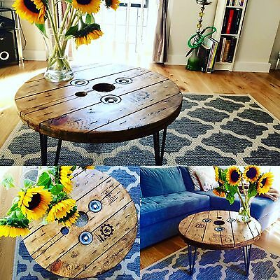 Bespoke Industrial Coffee Table  Laser Engraved Rustic Upcycled Cable Drum Reel