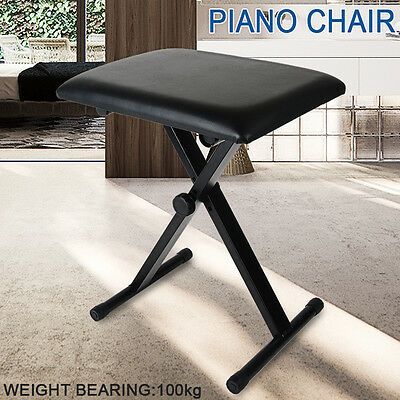 Foldable stool Height Frame Keyboard Bench Piano Stool Seat Adjustable Black