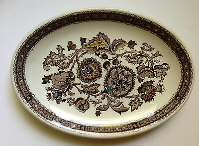 Ridgway Jacobean Brown Oval Plate 1960's Staffordshire