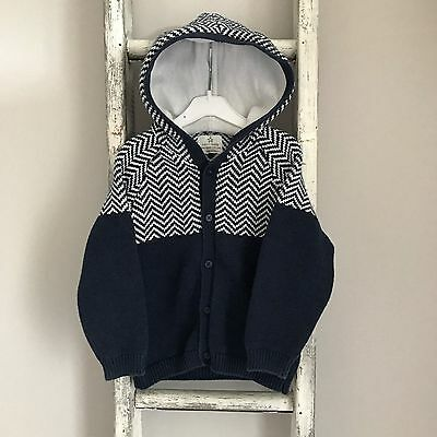 Baby Boy Next Hooded Cardigan Size 12-18 Months Blue White Knit Chevron Jumper