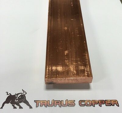 "1/2"" thick x 2"" wide x 6"" long Flat Copper Bar Stock  - C110"