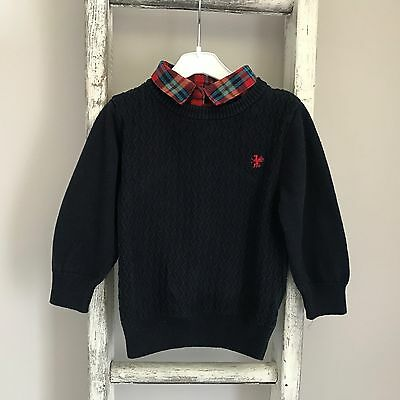 Baby Boy Next Jumper Size 9-12 Months Navy Blue Red Tartan Knit Top Autumn