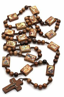Stations of the Cross Rosary Chaplet Wood on Cord Large Brown Catholic Men Women