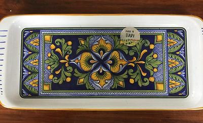 Gorgeous Nova Deruta Made In Italy Serving Plate Platter Long Hand Painted New