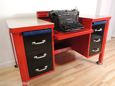 Vintage Industrial Factory GF Tanker Red Underwood Typewriter Metal Desk Table