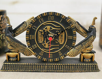 Ancient Egyptian Goddess Isis Maat & Eye Of Horus Egypt Table Clock Statue