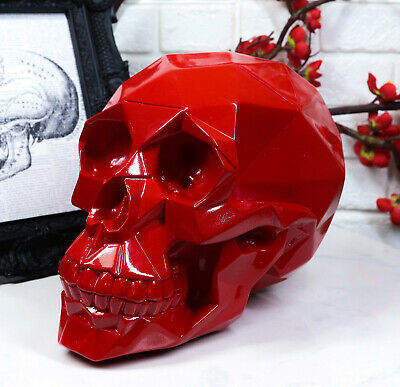 "Polygon Red Blood Skull Decorative Figurine 8.5"" Long Skeleton Halloween Decor"