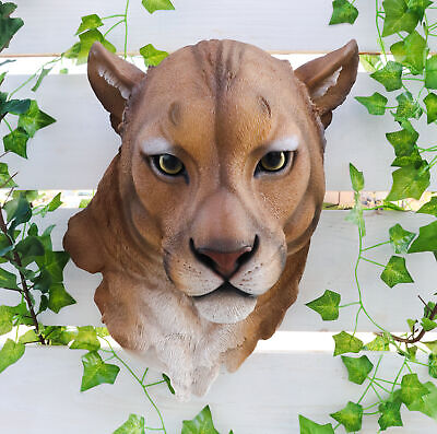 """Mountain Lion Lioness Hanging Head Bust Wall Figurine Home Decor Plaque 17""""H"""