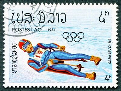 LAOS 1984 4k SG699 used NG Winter Olympic Games Sarajevo Luge #W30