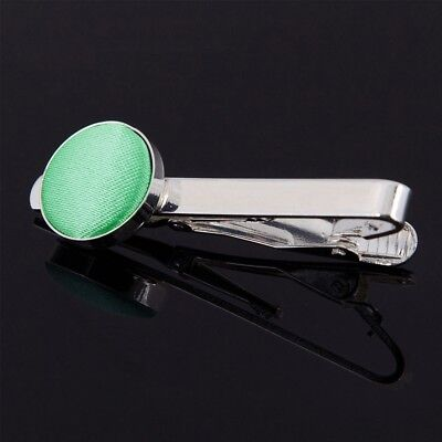 Premium Plain Silver Plated Men's Formal Wedding Tie Clips - Mint Green