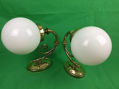 Pair Art Deco Brass Wall Lights White Glass Globe Shades