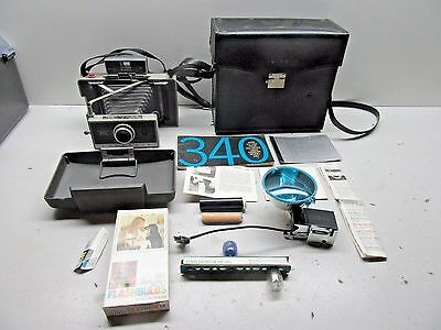 Vintage Polaroid Model 340 Instant Film Camera with Case and Accessories - L@@K